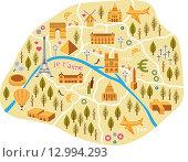 Купить «Стилизованная карта Парижа», иллюстрация № 12994293 (c) Екатерина Баженова / Фотобанк Лори
