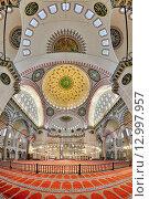 Купить «Интерьер мечети Сулеймание в Стамбуле, Турция», фото № 12997957, снято 4 апреля 2011 г. (c) Михаил Марковский / Фотобанк Лори