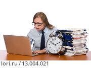 Купить «Office employee at work place isolated on white», фото № 13004021, снято 16 июня 2015 г. (c) Elnur / Фотобанк Лори