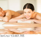 Купить «couple in spa», фото № 13007705, снято 4 мая 2013 г. (c) Syda Productions / Фотобанк Лори