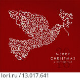 Купить «Merry christmas happy new year outline dove deco», иллюстрация № 13017641 (c) PantherMedia / Фотобанк Лори