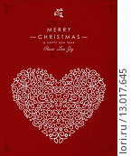 Купить «Merry christmas happy new year outline heart deco», иллюстрация № 13017645 (c) PantherMedia / Фотобанк Лори