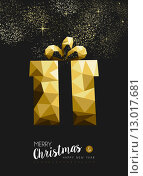 Купить «Merry christmas happy new year gold gift triangle», иллюстрация № 13017681 (c) PantherMedia / Фотобанк Лори
