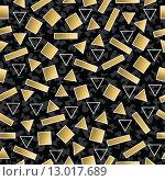 Купить «Retro 80s geometry seamless pattern gold shape», иллюстрация № 13017689 (c) PantherMedia / Фотобанк Лори