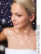 Купить «beautiful woman sitting in bath towel at sauna», фото № 13030753, снято 15 декабря 2014 г. (c) Syda Productions / Фотобанк Лори