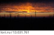 Закат. Красные небеса. Стоковое фото, фотограф Дмитрий Пронченко / Фотобанк Лори