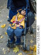 Ребенок спит в коляске (2013 год). Редакционное фото, фотограф Наталья Степченкова / Фотобанк Лори