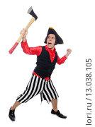 Купить «Funny pirate isolated on the white», фото № 13038105, снято 29 сентября 2015 г. (c) Elnur / Фотобанк Лори