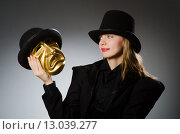Woman with mask in funny concept. Стоковое фото, фотограф Elnur / Фотобанк Лори