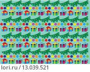 Фон из рисунков еловых веток и подарков. Стоковая иллюстрация, иллюстратор Фёдор Мешков / Фотобанк Лори