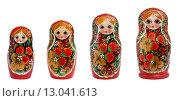 Купить «Русские матрешки на белом фоне изолировано», фото № 13041613, снято 7 ноября 2015 г. (c) Наталья Волкова / Фотобанк Лори