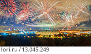 Купить «Салют над Лужниками в Москве», фото № 13045249, снято 9 декабря 2019 г. (c) Зезелина Марина / Фотобанк Лори