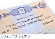 Купить «Государственный сертификат на материнский (семейный) капитал», фото № 13052913, снято 13 ноября 2015 г. (c) Ирина Борсученко / Фотобанк Лори