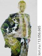 Купить «double exposure of business man and creek in forest background», фото № 13056665, снято 16 июня 2019 г. (c) PantherMedia / Фотобанк Лори