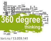 Купить «360 Degree Thinking word cloud with green banner», фото № 13059141, снято 16 сентября 2019 г. (c) PantherMedia / Фотобанк Лори