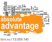 Купить «Absolute advantage word cloud with orange banner», фото № 13059145, снято 20 октября 2018 г. (c) PantherMedia / Фотобанк Лори