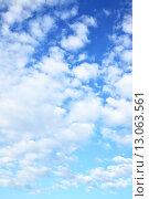 Купить «Blue sky with clouds», фото № 13063561, снято 16 июня 2015 г. (c) Роман Сигаев / Фотобанк Лори