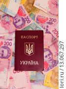Купить «Украинский заграничный паспорт на фоне денег», фото № 13067297, снято 15 ноября 2015 г. (c) Ивашков Александр / Фотобанк Лори