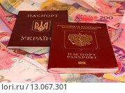 Купить «Украинский и российский заграничные паспорта на фоне украинских денег», фото № 13067301, снято 15 ноября 2015 г. (c) Ивашков Александр / Фотобанк Лори