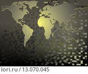 Коричневый фон, карта мира. Стоковая иллюстрация, иллюстратор Людмила Любицкая / Фотобанк Лори