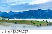 Купить «Sunrise and summer misty mountain country view», фото № 13070737, снято 18 октября 2018 г. (c) Юрий Брыкайло / Фотобанк Лори