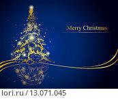Поздравительная открытка с Новым годом и Рождеством. Стоковая иллюстрация, иллюстратор Миронова Анастасия / Фотобанк Лори
