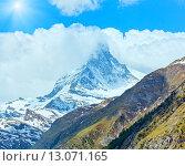 Купить «Summer Matterhorn mountain (Alps)», фото № 13071165, снято 7 июня 2012 г. (c) Юрий Брыкайло / Фотобанк Лори