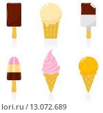 Купить «Набор различного вида мороженого», иллюстрация № 13072689 (c) Ирина Иглина / Фотобанк Лори