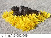 Купить «Спящий Будда среди желтых цветов ястребинки волосистой», эксклюзивное фото № 13082069, снято 13 сентября 2015 г. (c) Наташа Антонова / Фотобанк Лори