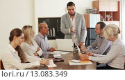 Купить «Crisis hits the company: upset business team in office», видеоролик № 13083349, снято 19 октября 2015 г. (c) Яков Филимонов / Фотобанк Лори