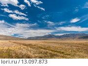 Купить «Красивый горный пейзаж с облаками на голубом небе. Плато Укок. Алтай», фото № 13097873, снято 10 августа 2015 г. (c) Оксана Гильман / Фотобанк Лори