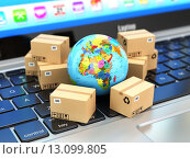 Купить «Shipping, delivery and logistic concept. Earth and cardboard boxes on laptop keyboard. Online technology.», фото № 13099805, снято 16 июля 2019 г. (c) Maksym Yemelyanov / Фотобанк Лори