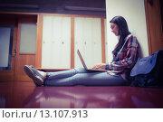 Купить «Smiling student sitting on the floor and using laptop», фото № 13107913, снято 1 июля 2015 г. (c) Wavebreak Media / Фотобанк Лори