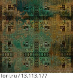 Купить «art abstract acrylic and pencil dark colorful background with damask pattern in green, brown and black colors», фото № 13113177, снято 23 октября 2019 г. (c) Ingram Publishing / Фотобанк Лори