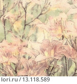 Купить «art floral vintage sepia watercolor background with light coral lilies», фото № 13118589, снято 1 июля 2013 г. (c) Ingram Publishing / Фотобанк Лори