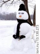 Купить «Fancy snowman wearing black clothes and sunglasses  Wintertime nature scenic», фото № 13130273, снято 18 июня 2019 г. (c) age Fotostock / Фотобанк Лори