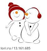 Купить «Два снеговика. Иллюстрация», иллюстрация № 13161685 (c) Nelli / Фотобанк Лори