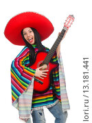 Купить «Woman mexican guitar player on white», фото № 13181441, снято 29 марта 2015 г. (c) Elnur / Фотобанк Лори