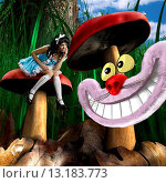 Купить «Fabulous adventures of Alice in Wonderland Girl in a beautiful magical forest sitting on a mushroom and talking to grinning Cheshire cat», фото № 13183773, снято 18 июня 2019 г. (c) age Fotostock / Фотобанк Лори