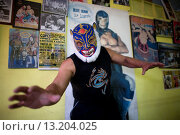 Купить «Ojo de Tigre or Tiger Eye, posses at his mexican wrestling Lucha Libre school in Mexico City, June 2, 2008 Lucha libre, meaning ´free fight´ in Spanish...», фото № 13204025, снято 2 июня 2008 г. (c) age Fotostock / Фотобанк Лори