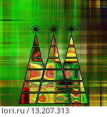art three christmas tree in green, gold and rainbow colors with abstract pattern on green and gold background. Стоковое фото, агентство Ingram Publishing / Фотобанк Лори