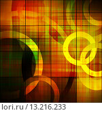 Купить «art abstract geometric textured colorful background with circles in vibrant yellow, red, green and brown colors», фото № 13216233, снято 16 июля 2018 г. (c) Ingram Publishing / Фотобанк Лори