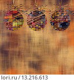 art christmas balls in gold and rainbow colors with abstract pattern on gold and brown background. Стоковое фото, агентство Ingram Publishing / Фотобанк Лори