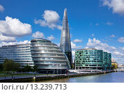 Купить «UK, Great Britain, Europe, travel, holiday, England, London, City, City Hall, Building, Shard of Glass, Shard, Skyscraper, river, Thames», фото № 13239713, снято 2 апреля 2019 г. (c) age Fotostock / Фотобанк Лори