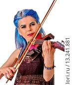 Купить «Music performers girl violinist.», фото № 13241881, снято 8 октября 2015 г. (c) Gennadiy Poznyakov / Фотобанк Лори