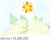 Купить «Детский рисунок. Ручей», иллюстрация № 13256729 (c) Виктор Нечаев / Фотобанк Лори