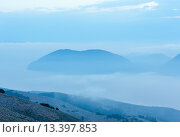 Купить «Sunrise misty top view to Ithaka island (Kefalonia, Greece).», фото № 13397853, снято 17 июня 2014 г. (c) Юрий Брыкайло / Фотобанк Лори