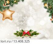 Купить «Рождественский фон с еловыми ветками и украшениями», иллюстрация № 13408325 (c) Владимир / Фотобанк Лори