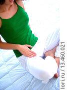 Купить «Woman suffering from a pain in the groin.», фото № 13460021, снято 16 июля 2018 г. (c) age Fotostock / Фотобанк Лори
