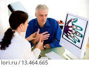 Купить «Doctor examining the hand of a patient.», фото № 13464665, снято 21 апреля 2018 г. (c) age Fotostock / Фотобанк Лори